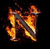 foto of letter n  - Letters and symbols in fire  - JPG