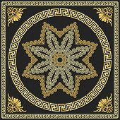 foto of fret  - set Traditional vintage golden square and round Greek ornament  - JPG