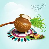 Happy Pongal, harvest festival celebration in South India with pongal rice in a traditional mud pot,