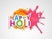 Indian festival Happy Holi  celebration concept with stylish text on colorful splash background.