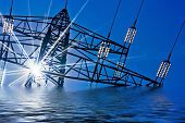 picture of electricity pylon  - a high - JPG