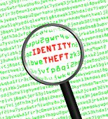 Identity Theft Revealed In Computer Code Through A Magnifying Glass In High-key