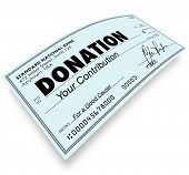 stock photo of check  - Donation Check Money Contribution to Charity Non - JPG