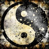 pic of yin  - Yin yang symbol on grunge background with stains - JPG