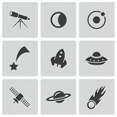 pic of meteorite  - Vector black space icons set on white background - JPG
