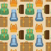 stock photo of knapsack  - Vector seamless pattern in flat style with bag and backpack icons  - JPG
