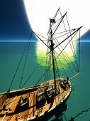 picture of brigantine  - Pirate brigantine out on sea - JPG