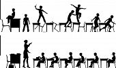 stock photo of misbehaving  - Editable vector silhouettes of two classroom scenes with all elements as separate objects - JPG