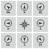 stock photo of wind-rose  - Vector black wind rose icons set on white background - JPG