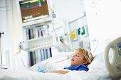 image of intensive care unit  - Young Girl Sleeping In Intensive Care Unit - JPG
