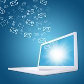picture of ebusiness  - Emails fly out of laptop screen - JPG