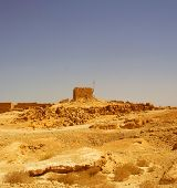 Ruins at Masada with Dead Sea in background