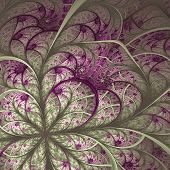 Beautiful Fractal Flower In Vinous And Gray. Computer Generated