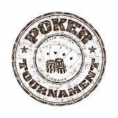 stock photo of money prize  - Grunge rubber stamp with poker cards - JPG