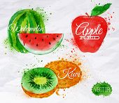 foto of plum fruit  - Fruit set drawn watercolor blots and stains with a spray watermelon - JPG