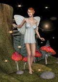 picture of fairyland  - 3D digital render of a cute white fairy butterfly in a night fairytale forest - JPG