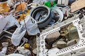 stock photo of landfill  - Piles of garbage on the city landfill - JPG