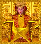 foto of throne  - A beautiful seductress sits on a golden throne and rules through both power and beauty in this digital art fantasy image of the Golden Queen of Shanghai - JPG