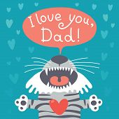 image of tiger cub  - Card happy father - JPG