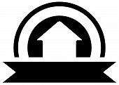 picture of real-estate-team  - black real estate icon with white cottage silhouette and sun - JPG