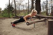 picture of exercise  - Tough young woman doing pushups on a log at park. Fit young woman exercising in woods.