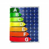 picture of fuel efficiency  - Energy Efficiency Rating and Solar Panel isolated on white background - JPG
