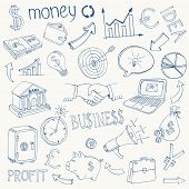 stock photo of yen  - Set of black and white business and money infographic vector doodle sketch icons depicting  investment  savings  success  analytics  targets  planning  handshake  security and currencies - JPG
