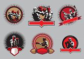 stock photo of pugilistic  - Set of six different vector boxing icons or emblems showing a single boxer fighting two boxers sparring and a champion with raised arms some with shields and banners - JPG