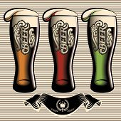 pic of guinness  - vector set of different kinds glasses of beer - JPG
