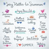 image of bon voyage  - set of vector handwritten letterings and hand drawn elements for summer design - JPG