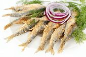 picture of cisco  - *** Local Caption *** Roasted and breaded vendace fish on dish - JPG