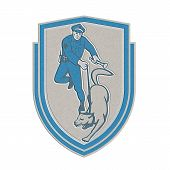 Metallic Policeman With Police Dog Canine Crest Retro poster