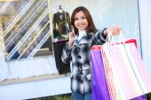 Pretty Woman Shopping With Colorful Bags
