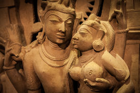 image of kamasutra  - Indian lovers in tantric position north-west India original manufact 10-11 century