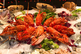stock photo of norway lobster  - Lobsters crabs and fish mixture crustaceans exhibited - JPG