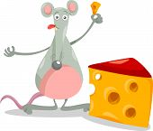 image of rats  - Cartoon Illustration of Cute Mouse or Rat Rodent with Cheese - JPG