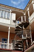 picture of spiral staircase  - Traditional georgian architecture in Abanotubani historical part of Tbilisi  - JPG