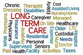 picture of personal care  - Long Term Care word cloud on white background - JPG