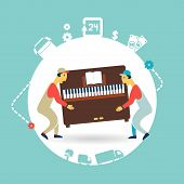 image of movers  - movers carry furniture piano illustration - JPG
