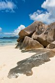 Close up Large Rock Forms at Anse Source d'Argent Beach. A Delightful Tourist Destination to Experience. Located at La Digue Island, Seychelles. poster