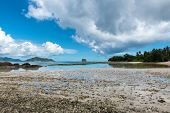 Panorama View of Famous Tourist Destination - Captivating Anse Union Beach in La Digue Island, Seychelles. Capturing the Landscape and the Beach. poster