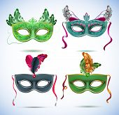 foto of masquerade mask  - Carnival masks with feathers - JPG