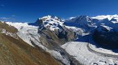 stock photo of rosa  - Monte Rosa view from the Gornergrat - JPG
