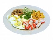 Appetizer With Crab Sticks, Egg, Mayonnaise, Maize poster