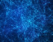 picture of cybernetics  - Abstract digital background with blue cybernetic particles - JPG