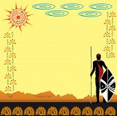 foto of spears  - warriors with spear and shield on the background of the desert - JPG