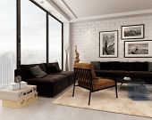 stock photo of lounge room  - 3D Rendering of Comfortable contemporary living room interior with brown - JPG