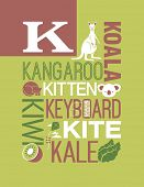 image of letter k  - Letter K words typography illustration alphabet poster design - JPG