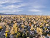 stock photo of collins  - aerial view of Fort Collins residential area - JPG