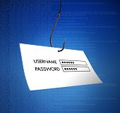 stock photo of maliciousness  - a login and password stolen by a fish hook on blue digital background - JPG